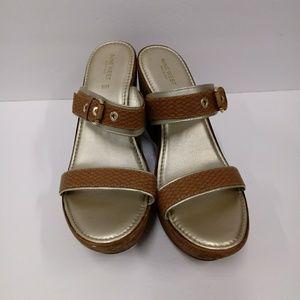 Nine West Imaiah Amber Wedge Italian Sandals 10M